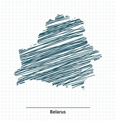 Doodle sketch of Belarus map vector image