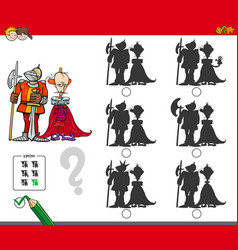 Educational shadow game with king and knight vector