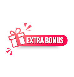 Extra bonus label modern red web banner vector