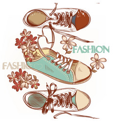 fashion seamless pattern hand drawn sport boots vector image