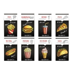 Fast food menu price poster with description vector