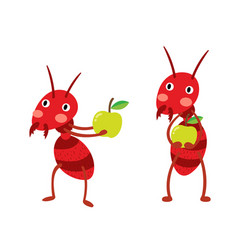 Fire ants with green apples vector