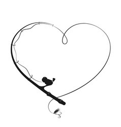 Fishing rod in form heart vector