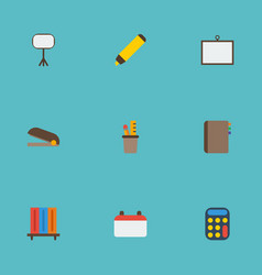 Flat icons puncher date board stand vector