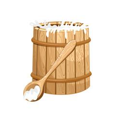 Full milk wooden barrel isolated icon vector