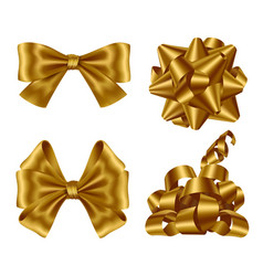 gold ribbons and bows top view and side view set vector image