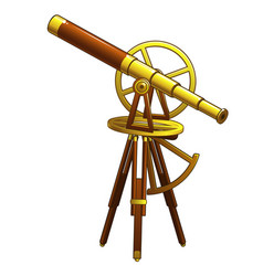 Golden ancient astronomical telescope vector