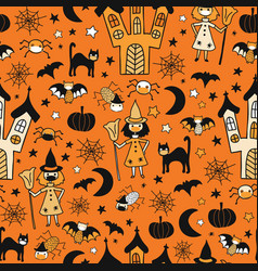 halloween 2020 coronavirus kids pattern vector image