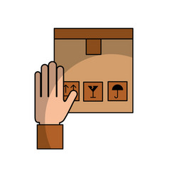 Hand human with box carton delivery icon vector