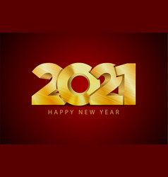 happy 2021 new year golden letters banner style vector image