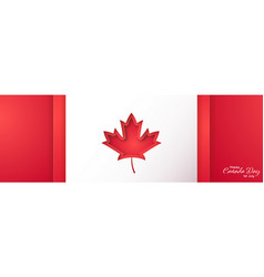 happy canada day long horizontal banner in paper vector image