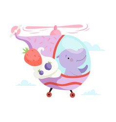 Hippo baflying on cute helicopter funny vector