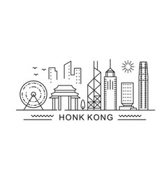 Hong kong minimal style city outline skyline with vector