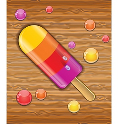 Ice cream on wooden background vector