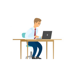 manager working on laptop sitting on chair vector image