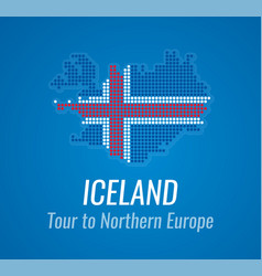 Map silhouette of iceland with caption and vector