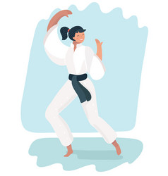 Martial arts woman in kimono excercising karate vector
