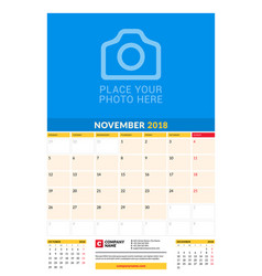 Monthly calendar planner template for 2018 year vector