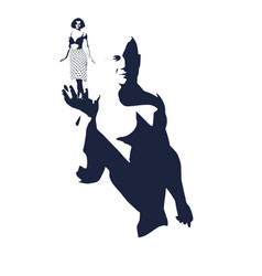 muscular man presenting woman vector image