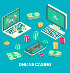 online casino concept flat isometric vector image