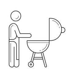 outdoor grill line icon vector image