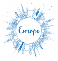 outline famous landmarks in europe with copy space vector image