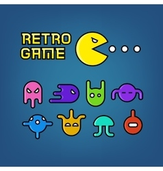 Pac man and ghosts for arcade computer game vector
