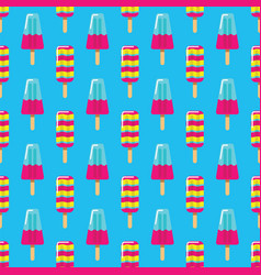 pattern fruit and milk ice cream on stick on blue vector image