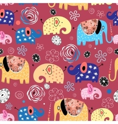 pattern of elephants in the clouds vector image