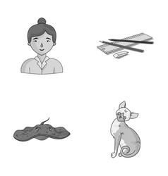 paws teacher and other monochrome icon in cartoon vector image