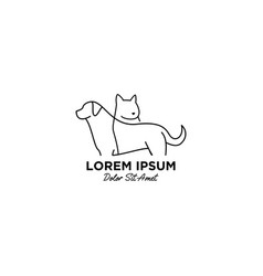 Pet care logo with monoline style vector