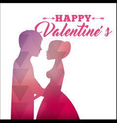 pink silhouette abstract couple love happy vector image