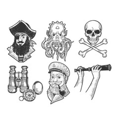 pirates set sketch vector image