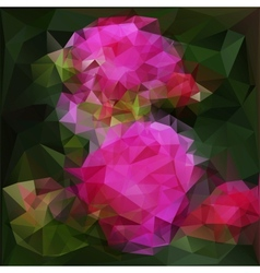 polygonal background with pink flowers vector image