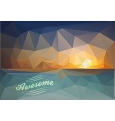 Polygonal seaside view sammer poster vector image