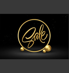 realistic 3d sale gold lettering with golden vector image