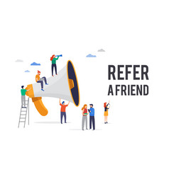 Refer a friend big megaphone with a vector