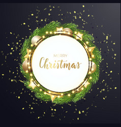 round christmas design with light bulb garland vector image