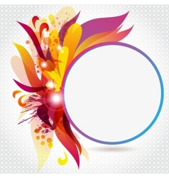 Round frame with abstract flowers and blots vector