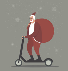 Santa claus character riding electric scooter vector