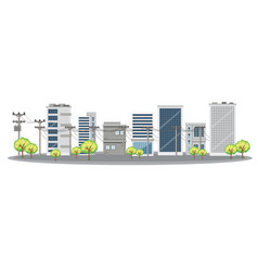 Scene with many buildings in city vector