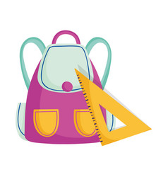 School backpack and triangle ruler supplies vector