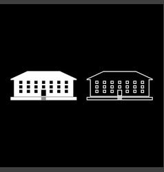 School building icon set white color flat style vector