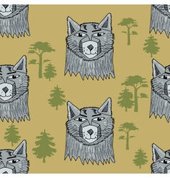 Seamless background with wolf vector