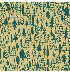 Seamless pattern hand drawn pine forest vector image vector image