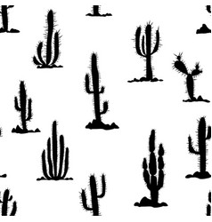 Seamless pattern with cactuses and stones vector