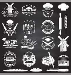 Set bakery shop badge on chalkboard vector