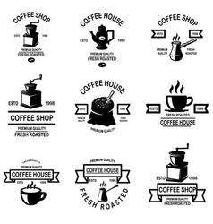 set coffee shop emblems design elements vector image