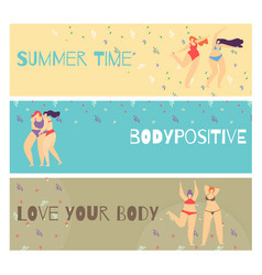 set flat horizontal motivate body positive banner vector image