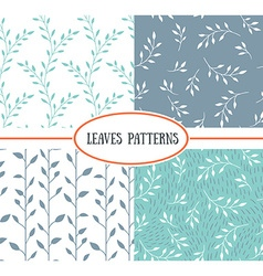 set four seamless patterns with spring leaf it vector image